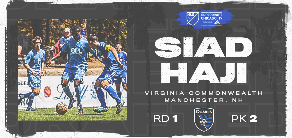 HAJI SELECTED 2nd OVERALL BY SAN JOSE IN MLS SUPERDRAFT